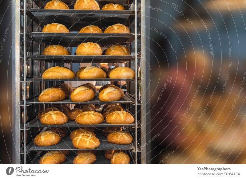 Frische Brote auf Tablettständern. Brötchen in den Bäckerei-Regalen Ernährung Gesunde Ernährung frisch lecker Backwaren Grundnahrungsmittel Brotgestelle