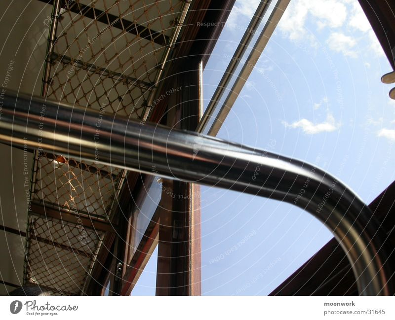 Alte (und einzige) Bahn, Mallorca Soller Eisenstangen Fenster Verkehr Eisenbahn alt Himmel