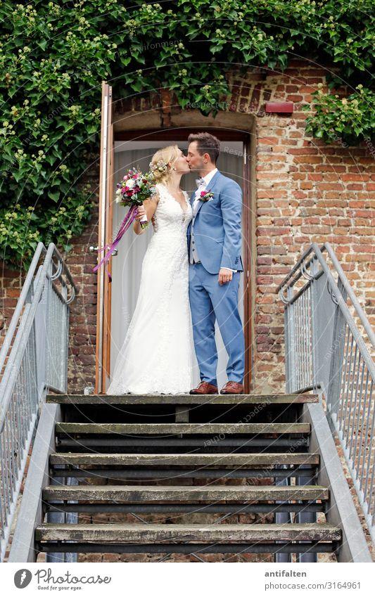 Der Kuss Frau Mensch Jugendliche Mann schön weiß Freude 18-30 Jahre Erwachsene Leben Wand Liebe natürlich feminin Glück Paar