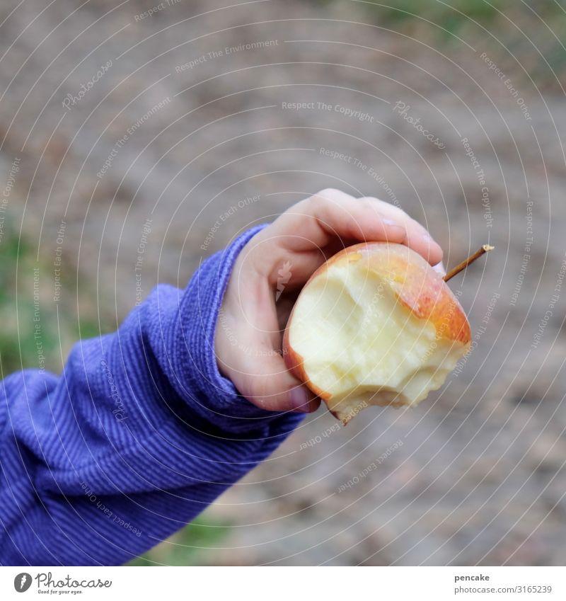 geräusch   schnurps Apfel Frucht rot Ernährung Gesundheit Nahaufnahme frisch Bioprodukte Lebensmittel saftig Kind Kinderhand Schwache Tiefenschärfe süß Farbfoto