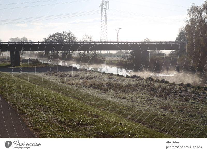 Gegenlichtlandschaftsbild mit Brücke, Fluss und Strommast Ausflug Umwelt Landschaft Pflanze Luft Wasser Sommer Herbst Schönes Wetter Nebel Wiese Sträucher Baum