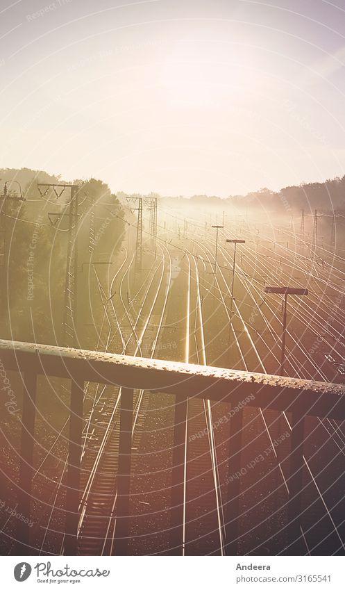 Bahngleise im Morgendunst Ferien & Urlaub & Reisen Ferne Sonne Güterverkehr & Logistik Himmel Wolkenloser Himmel Horizont Wetter Schönes Wetter Nebel Verkehr