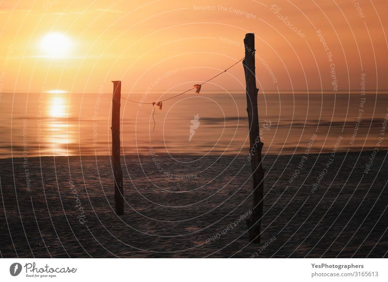 Sommerlicher Sonnenuntergang über dem Strand- und Volleyballnetz. Sylter Inselstrand Freude Erholung Ferien & Urlaub & Reisen Sommerurlaub Natur Landschaft Sand