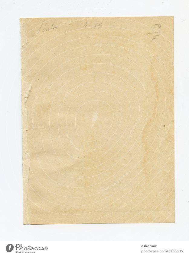 altes Papier Buch Blatt Schreibwaren authentisch retro schön braun gelb weiß Senior Vergangenheit Vergänglichkeit leer vergilbt Farbfoto Gedeckte Farben