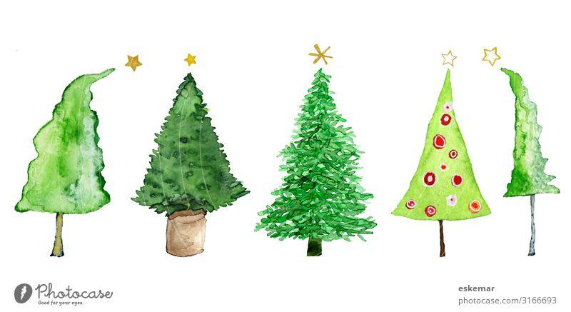Weihnachtsbäume, Aquarell auf Papier Feste & Feiern Weihnachten & Advent Silvester u. Neujahr Kunst Kunstwerk Gemälde gemalt Natur Pflanze Baum Topfpflanze