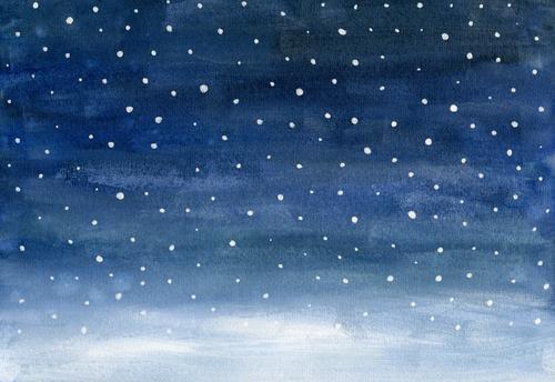Schnee Winter Winterurlaub Feste & Feiern Weihnachten & Advent Silvester u. Neujahr Kunst Gemälde Aquarell Umwelt Natur Landschaft Himmel Nachthimmel Stern