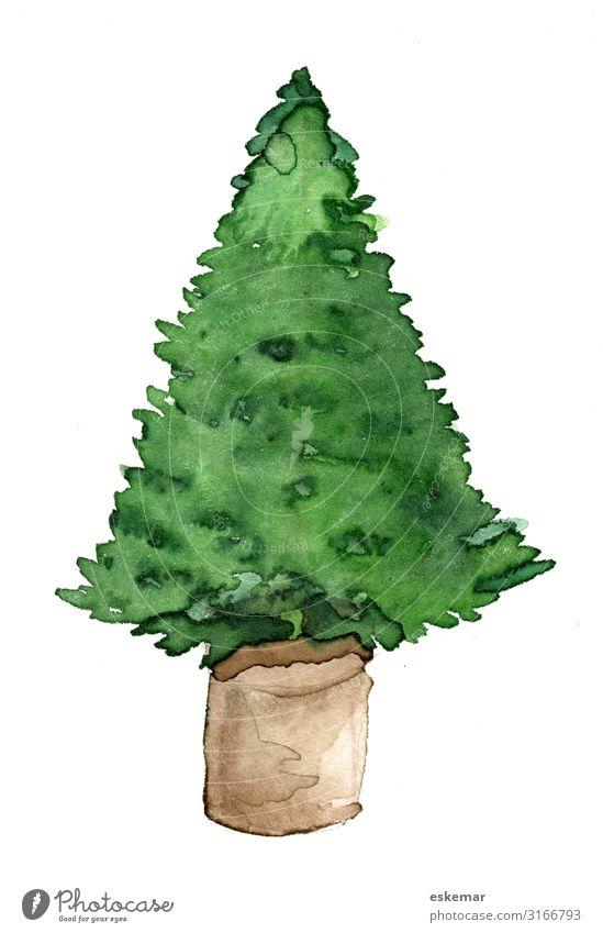 Weihnachtsbaum im Topf, Aquarell auf Papier Feste & Feiern Weihnachten & Advent Kunst Kunstwerk Gemälde Wasserfarbe gemalt Baum Tanne Topfpflanze Blumentopf