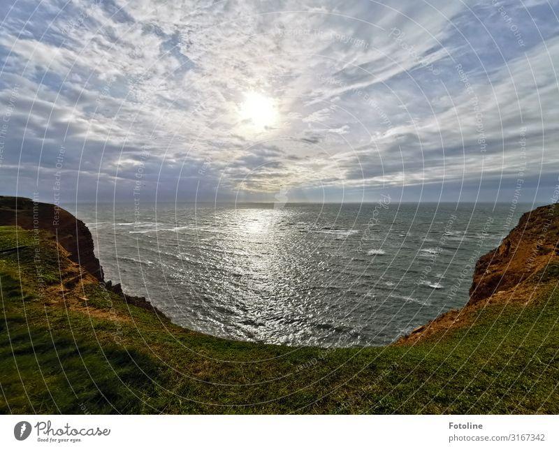 Helgoland Umwelt Natur Landschaft Pflanze Urelemente Erde Wasser Himmel Wolken Gras Felsen Berge u. Gebirge Wellen Küste Nordsee Meer Insel Ferne frei