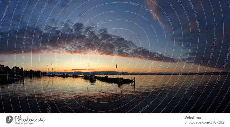 Abend bei Évian-les-Bains am Genfer See Landschaft Wasser Wolken Seeufer Lac Leman Frankreich Europa blau braun mehrfarbig gelb gold grau orange rosa rot