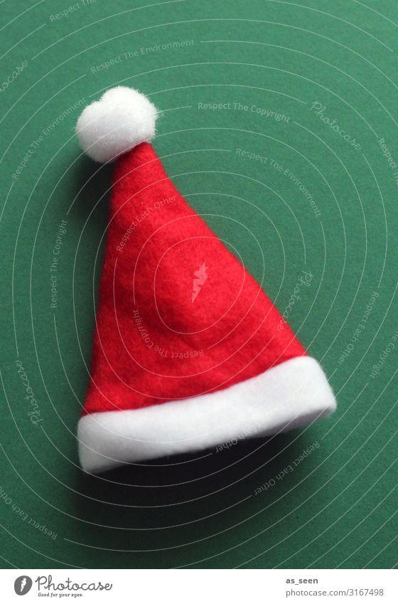 Weihnachtsmütze Feste & Feiern Weihnachten & Advent Winter Klima Filz Mütze Nikolausmütze leuchten liegen ästhetisch Freundlichkeit Fröhlichkeit modern positiv
