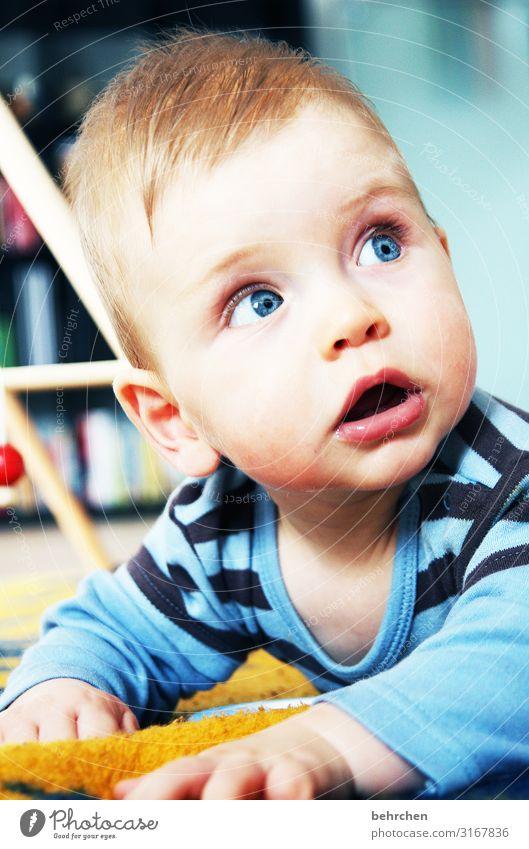 auf den kopf gestellt | das leben Kopf Auge Kind Innenaufnahme Sohn Baby Junge Familie & Verwandtschaft Kindheit Gesicht Mund Lippen beobachten entdecken