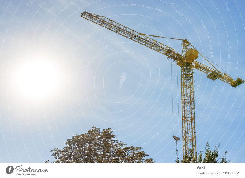Baukran auf der Baustelle Hausbau Arbeit & Erwerbstätigkeit Industrie Werkzeug Maschine Baumaschine Technik & Technologie Energiewirtschaft Himmel Sonne