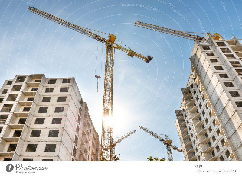 Baustelle mit Kranen Häusliches Leben Haus Hausbau Renovieren Arbeit & Erwerbstätigkeit Arbeitsplatz Industrie Business Maschine Baumaschine