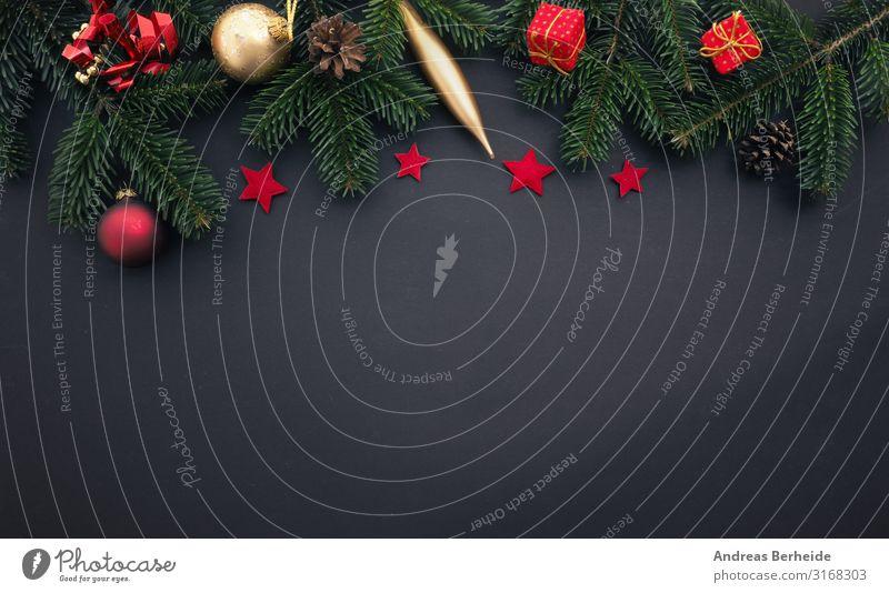 Traditional Christmas decoration in gold and red Weihnachten & Advent Winter Hintergrundbild Stil Design Dekoration & Verzierung retro Geschenk Stern (Symbol)