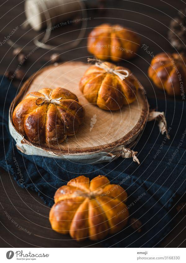 Kürbis-Brötchen Herbst orange Ernährung Kreativität lecker Backwaren Frühstück Vegetarische Ernährung Brot herbstlich Teigwaren Saison Büffet Brunch