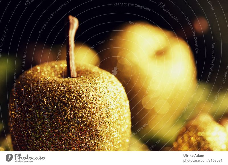 Goldene Weihnachtszeit Design Postkarte Weihnachten & Advent Dekoration & Verzierung Kitsch Krimskrams glänzend leuchten Stimmung Glaube Apfel
