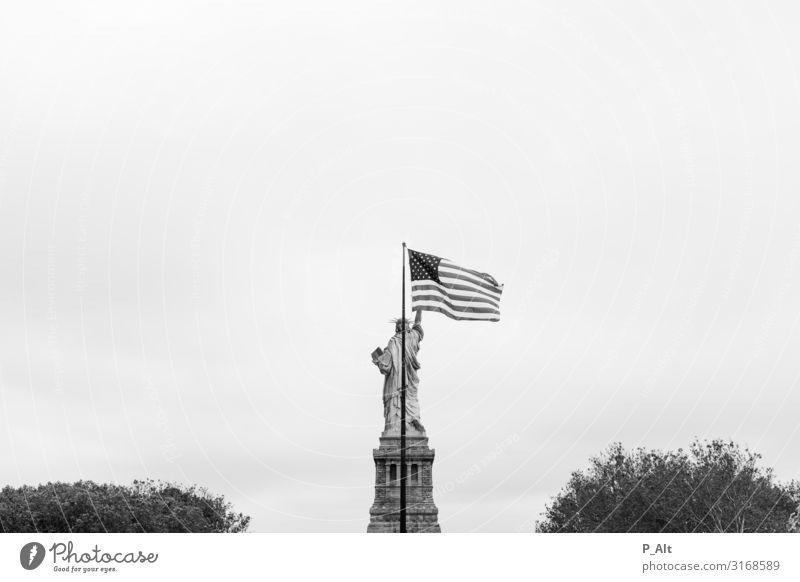 Superposition Stadt Freiheitsstatue Fahne Sehenswürdigkeit Wahrzeichen Denkmal Sockel frei Freundlichkeit frisch historisch rebellisch verrückt Schutz Einigkeit