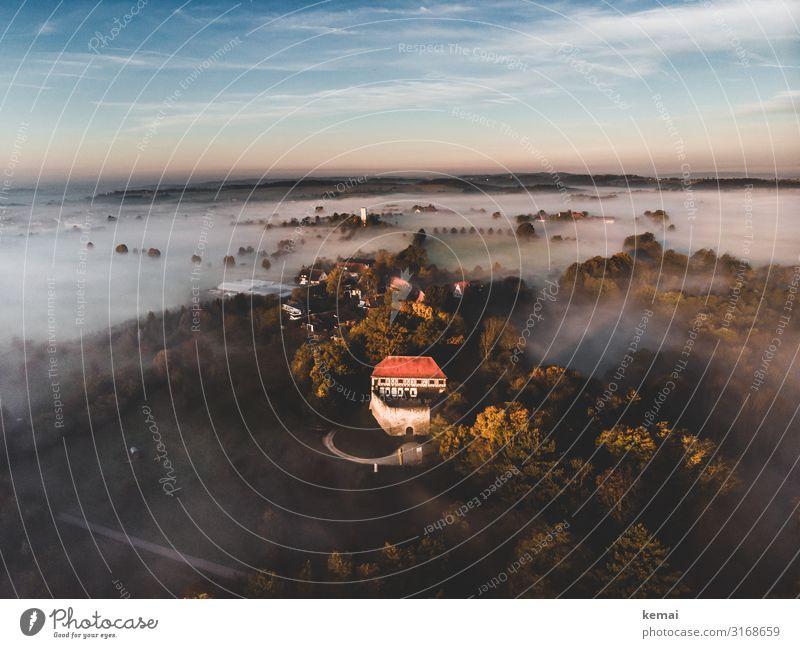 Wäscherschloss harmonisch Sinnesorgane Erholung ruhig Ausflug Abenteuer Ferne Freiheit Natur Landschaft Himmel Wolken Herbst Schönes Wetter Nebel Wald Hügel