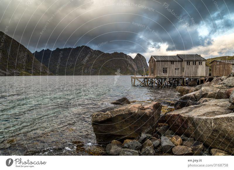 Grau - das neue Rot Ferien & Urlaub & Reisen Umwelt Natur Landschaft Wolken Gewitterwolken Herbst schlechtes Wetter Felsen Berge u. Gebirge Küste Fjord Norwegen
