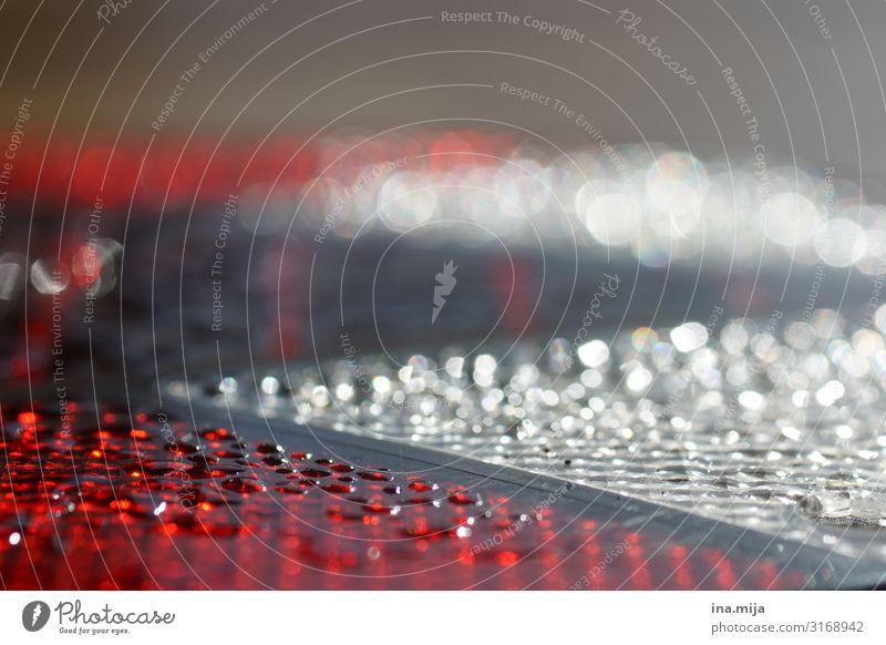 0oO Technik & Technologie Wissenschaften Fortschritt Zukunft Wasser Netzwerk Tropfen leuchten Reinigen glänzend rot weiß Optimismus Hoffnung Unglaube Design