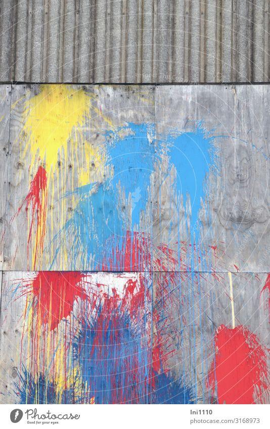 verschönert | UT Hamburg Fabrik Industrie Güterverkehr & Logistik Hafenstadt Menschenleer Industrieanlage Mauer Wand Fassade einzigartig blau gelb grau rot weiß