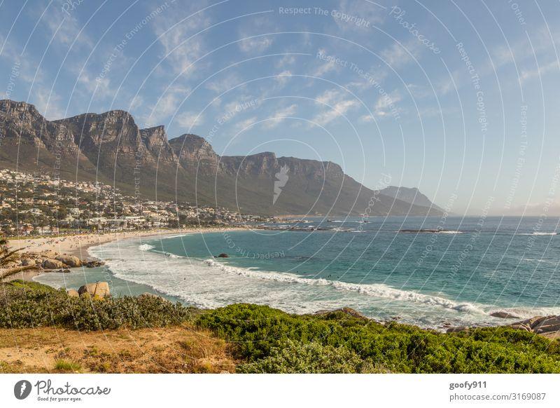 Camps Bay / Südafrika Himmel Ferien & Urlaub & Reisen Natur Wasser Landschaft Meer Haus Erholung Wolken Ferne Strand Küste Tourismus Freiheit Felsen Sand