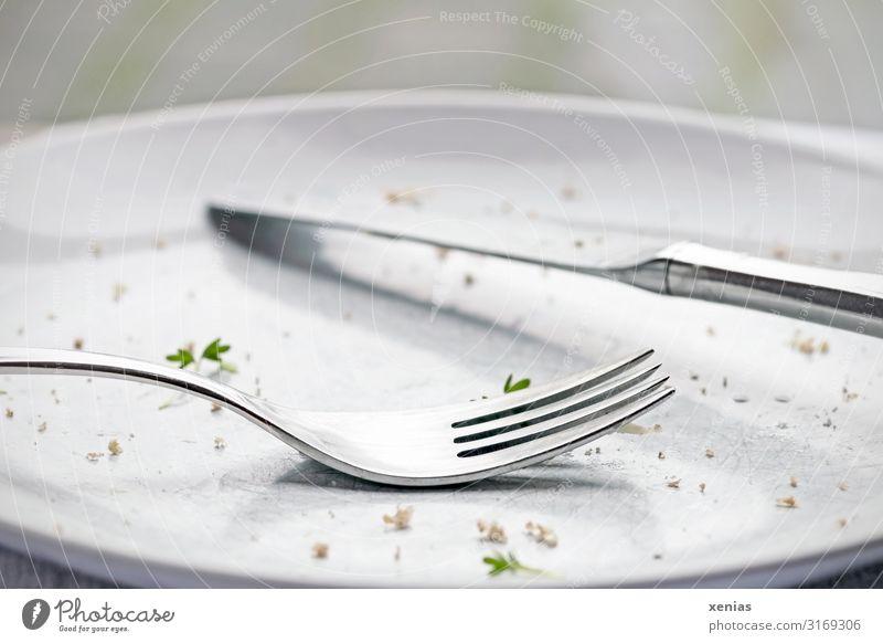 heller leer gegessener Teller mit Messer und Gabel Besteck Kresse Brotkrümel Ernährung Essen Diät Fasten grün silber weiß Völlerei Appetit & Hunger Rest