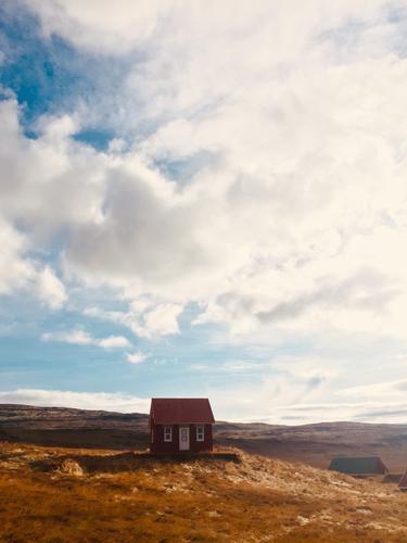 spätherbst auf dem land Umwelt Natur Landschaft Pflanze Tier Himmel Wolken Sonne Sonnenlicht Herbst Klima Schönes Wetter Wiese Fjord Kleinstadt Haus