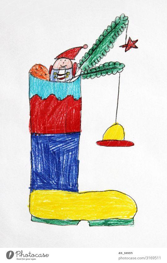 Nikolausstiefel Frucht Süßwaren Wohnung Kinderzimmer Weihnachten & Advent Kindererziehung Kindergarten Kindheit Kunst Jugendkultur Tannenzweig Stiefel hängen