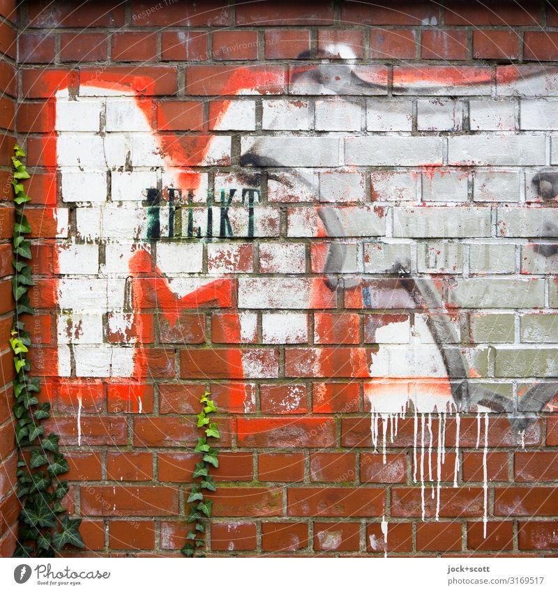 Delikt M Subkultur Straßenkunst Farn Prenzlauer Berg Mauer Backstein Schriftzeichen Graffiti groß einzigartig trashig rot Stimmung Freude Tatkraft beweglich