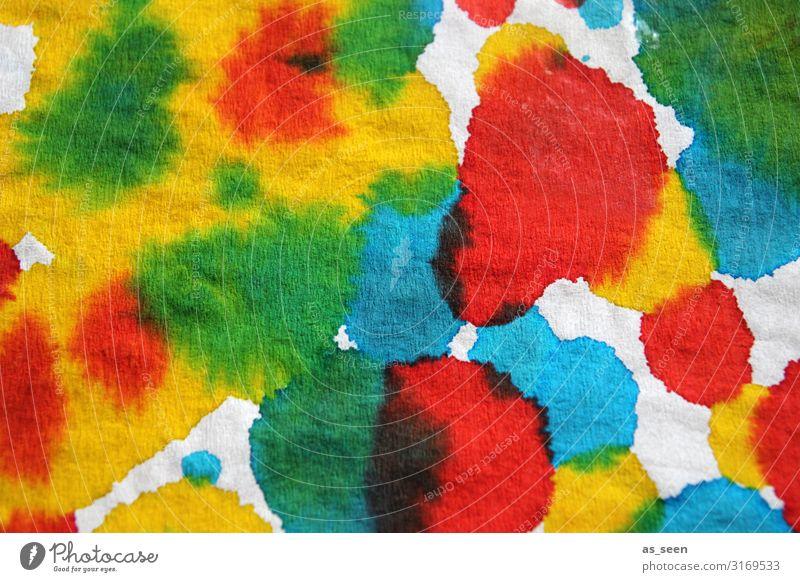 Summertime Kunst Maler Kultur Schreibwaren Papier Wasser leuchten authentisch Flüssigkeit modern mehrfarbig gelb grün rot türkis weiß Lebensfreude