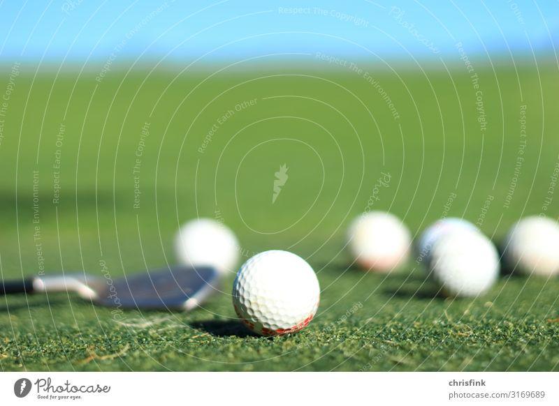 Golfbälle und Schläger auf Golfplatz Ferien & Urlaub & Reisen Natur grün ruhig Gesundheit Umwelt Wiese Sport Spielen Freizeit & Hobby Erfolg genießen Fitness
