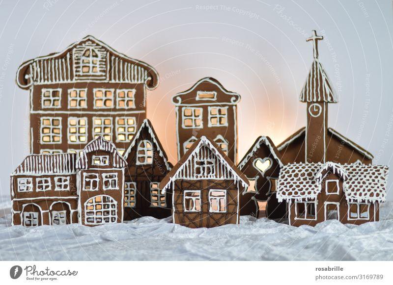 Lebkuchenstadt 2 schön Winter Schnee Haus Dekoration & Verzierung Weihnachten & Advent Dorf Stadt Kirche Fassade Liebe süß weiß Vorfreude Religion & Glaube