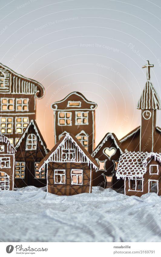 Lebkuchenstadt 1 schön Weihnachten & Advent Winter Dorf Stadt Haus Fassade Dekoration & Verzierung Zuckerguß Liebe frisch lecker süß weiß Vorfreude Tradition