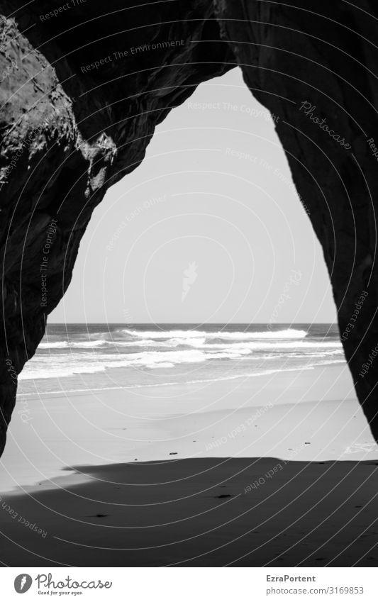 /\lgarve Algarve Portugal s/w Urlaub Sand Strand Meer Natur Ferien & Urlaub & Reisen Felsen Erholung Landschaft Schatten Sommer Wasser Tourismus Sommerurlaub