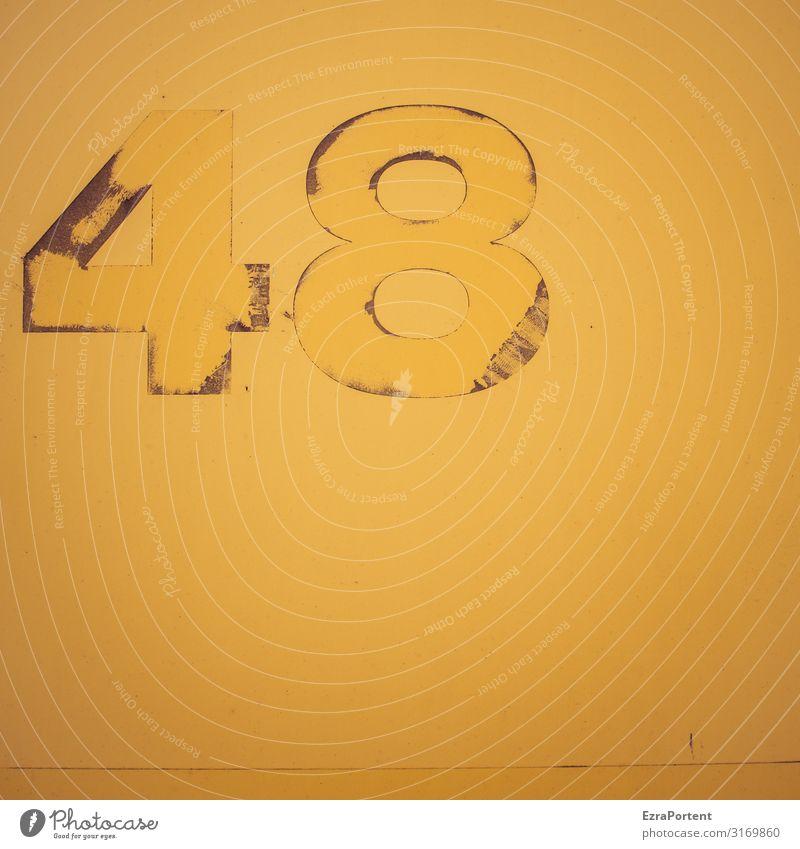48 Zeichen Ziffern & Zahlen Schilder & Markierungen Hinweisschild Warnschild alt dreckig trashig gelb Geburtstag kaputt Abnutzung Farbfoto Außenaufnahme