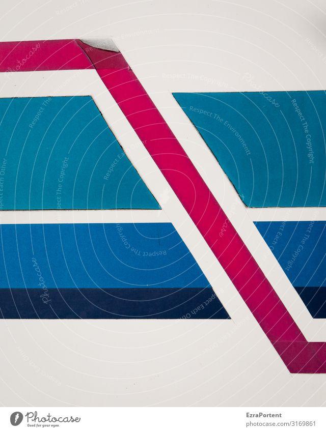 -_\-_ Metall Zeichen Schilder & Markierungen Linie Streifen blau rot schwarz weiß Desaster Etikett Trennung Problemlösung Strukturen & Formen Formation