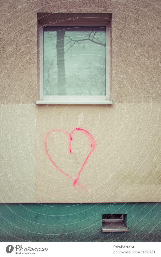Herzensangelegenheit Haus Bauwerk Gebäude Architektur Mauer Wand Fassade Fenster Glas Zeichen Graffiti Linie Streifen Liebe grau grün rot Gefühle Freundschaft