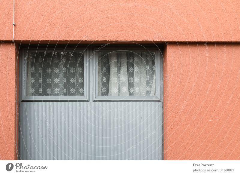 .. Haus Bauwerk Gebäude Architektur Mauer Wand Fassade Fenster Beton Glas Metall Linie grau rot Gardine Häusliches Leben Putzfassade Grafische Darstellung