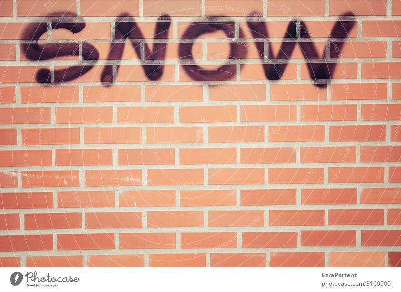 SNOW Umwelt Natur Winter Klima Wetter Schnee Schneefall Haus Bauwerk Gebäude Architektur Mauer Wand Fassade Backstein Zeichen Schriftzeichen Graffiti kalt rot