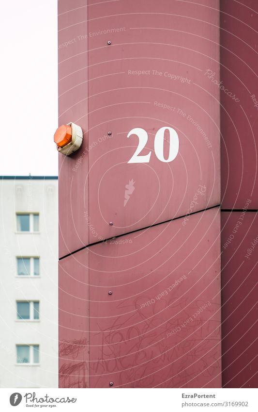 .20/ Haus Bauwerk Gebäude Architektur Mauer Wand Fassade Fenster Zeichen Ziffern & Zahlen Schilder & Markierungen Linie grau rot Geburtstag Alarm Alarmanlage