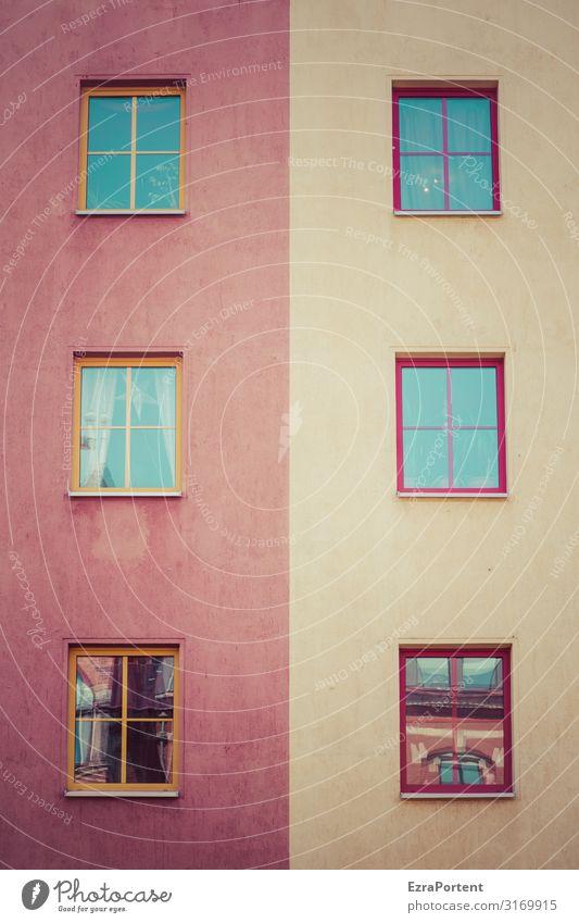 | Design Bauwerk Gebäude Architektur Mauer Wand Fassade Fenster Linie Streifen rot Gardine Reflexion & Spiegelung Weihnachten & Advent Farbstoff zweifarbig