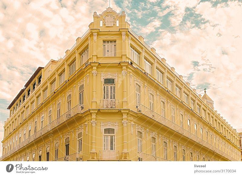 Ecke Downtown Building, Havanna - Kuba Lifestyle Leben Ferien & Urlaub & Reisen Tourismus Ausflug Insel Haus Dekoration & Verzierung Kunst Wolken Kleinstadt