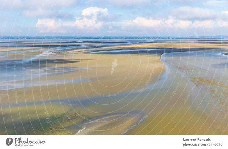 Ferien & Urlaub & Reisen Natur blau Landschaft Strand Küste Tourismus Sand Horizont Aussicht Europa Frankreich Gezeiten Normandie