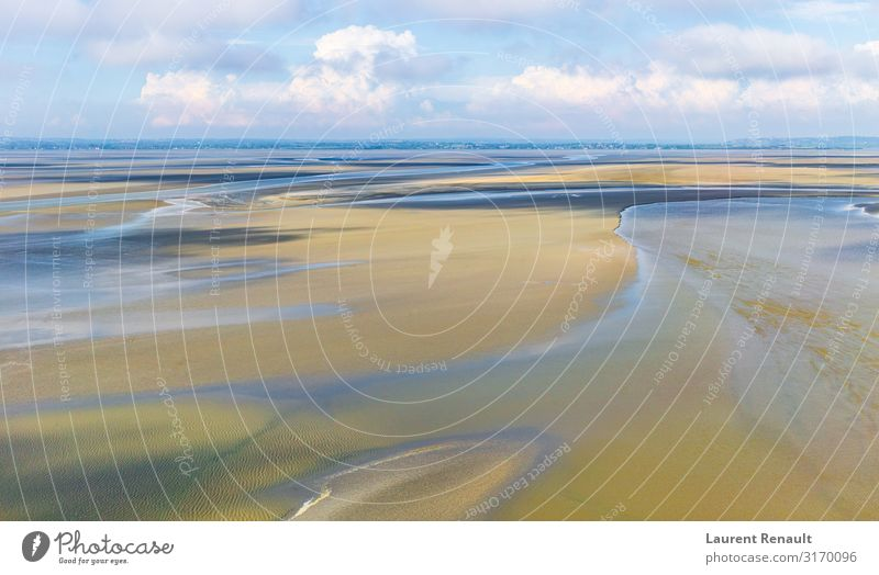 Panoramablick von Le Mont Saint-Michel Ferien & Urlaub & Reisen Tourismus Strand Natur Landschaft Sand Horizont Küste blau Frankreich Bucht Europa Normandie