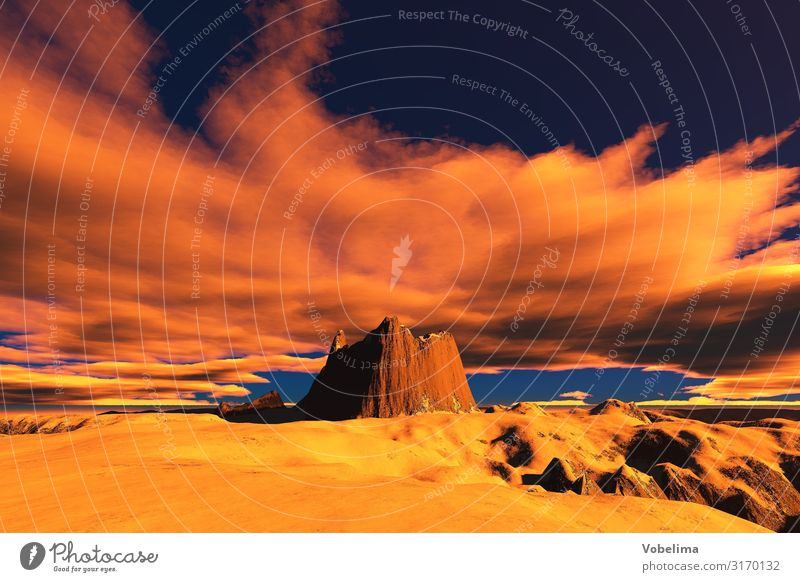 Gerendertes Bild: Berge bei Sonnenaufgang/Sonnenuntergang Landschaft Wolken Berge u. Gebirge Gipfel blau braun orange rosa rot schwarz Experiment Menschenleer