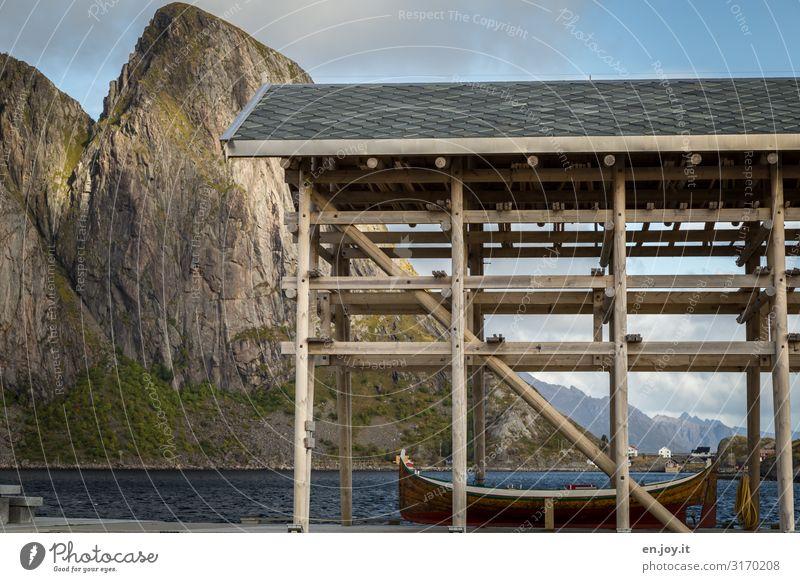 Bootshaus Ferien & Urlaub & Reisen Umwelt Natur Landschaft Felsen Berge u. Gebirge Fjord Lofoten Norwegen Skandinavien Reine Reinefjorden Hamnöy Fischerdorf