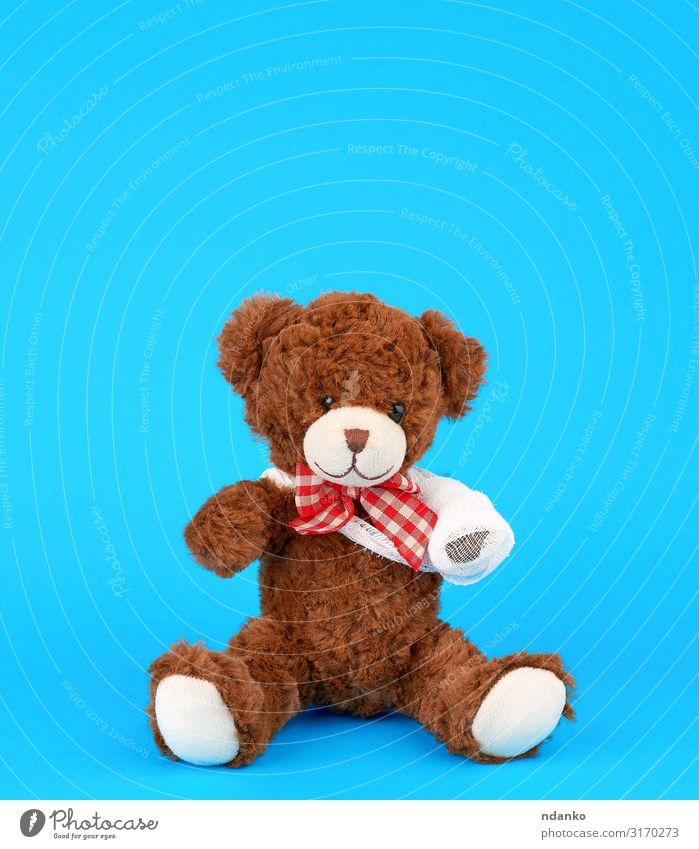 Teddybär mit aufgewickelter weißer Verbandspranke Freude Behandlung Krankheit Medikament Kind Krankenhaus Kindheit Arme Band Tier Pfote Spielzeug Puppe sitzen