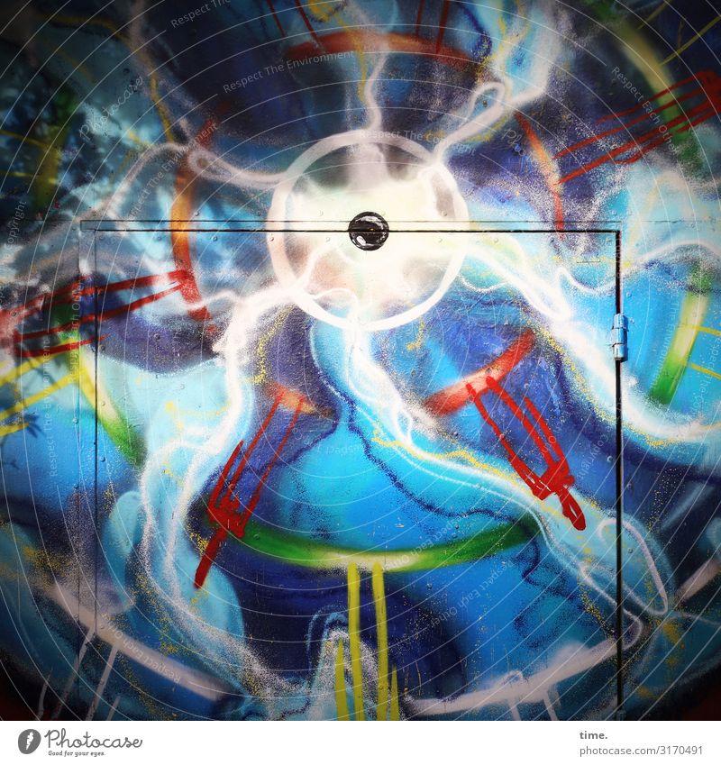 buntes Chaos | Weltschmerz Kunst Ausstellung Kunstwerk Gemälde Mauer Wand Tür Graffiti Stadt verrückt mehrfarbig Gefühle Stimmung Lebensfreude selbstbewußt