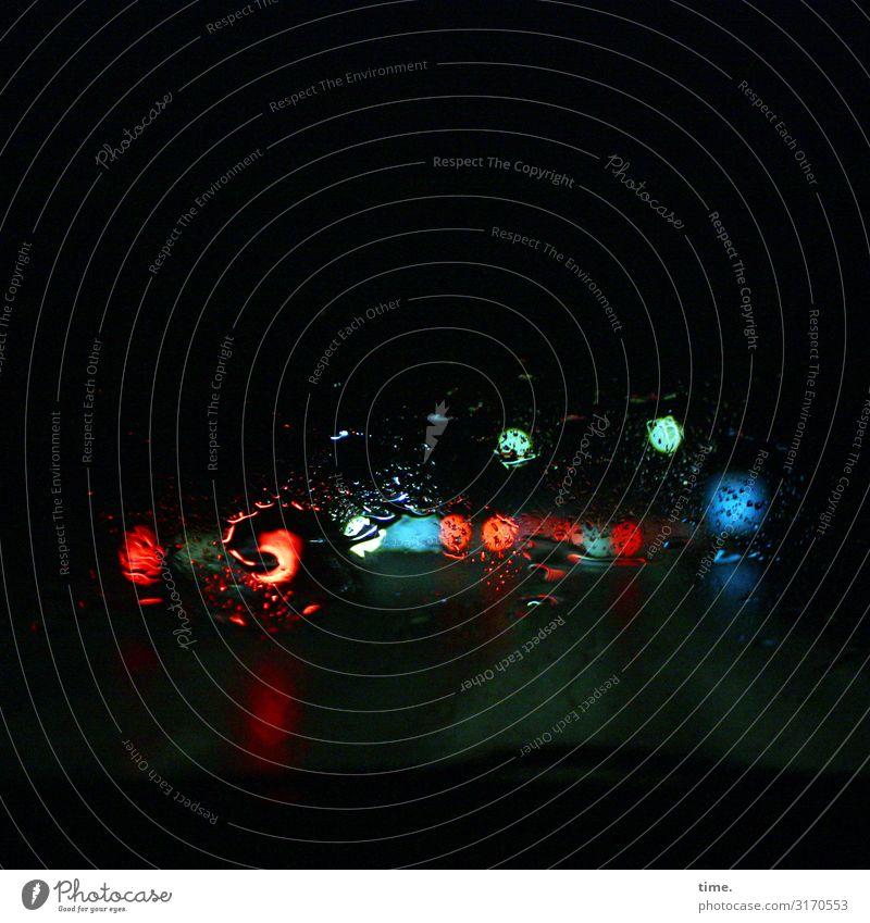 Farbraum | unscharf Wassertropfen schlechtes Wetter Regen Verkehr Verkehrswege Personenverkehr Autofahren Verkehrsstau Straße Wege & Pfade PKW Autoscheinwerfer